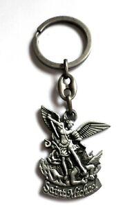 Religious Metal Key Ring Charm Amulet Saint Michael