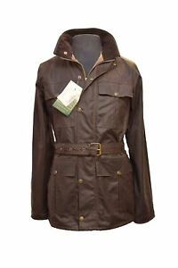 Waxed Jacket for Men Waterproof Motorcycle Style with Belt & 4 Pockets - Brown