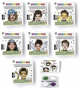 Snazaroo Face Paints Mini Theme Packs Party Make Up Halloween with Brush Kids