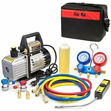 4CFM Vacuum Pumps Air HVAC A/C Refrigeration Kit Manifold Gauge Set W/ Leak