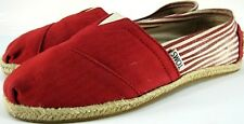 Toms women Shoes Size 6 Red White Striped Braided Sole Sole Trim Canvas