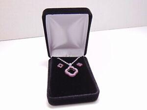 Mouawad Heidi Klum 18k White Gold Ruby Clover Quatrefoil Necklace Earrings Set
