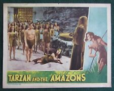 TARZAN AND THE AMAZONS~JOHNNY WEISSMULLER~ORIG 1945 LOBBY CARD~SHEFFIELD~VG (c