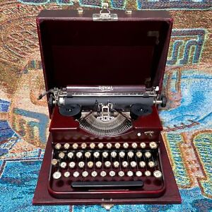 Vintage 1930 Red Royal Model P Portable Typewriter with the Case - Works Good
