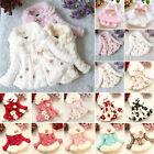 Kids Girls Faux Fur Warm Hooded Coat Baby Toddler Fleece Jacket Winter Outerwear