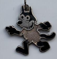 More details for felix the cat vintage antique sterling silver black enamel pendant 1920s