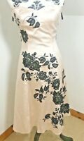 Warehouse Spotlight Size 10 Dress Fit & Flare Bandeau Peach Pink Satin Floral