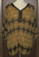 Catherines Blouse Sz. 3x 26 28 W Black Gold Floral Long Bell Sleeve V Neck