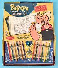 1960 Vintage Popeye Numbered Pencil Coloring by Numbers Kit by King Features