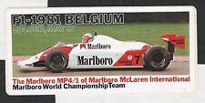 MARLBORO McLAREN BELGIUM GP 1981 ZOLDER MP4/1 WATSON PERIOD STICKER AUTOCOLLANT