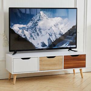 Wooden TV Unit Stand Cabinet 3 Drawer Side Table Storage Shelf Modern Cupboard