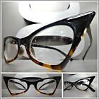 CLASSIC VINTAGE RETRO CAT EYE Style Clear Lens EYE GLASSES Black Tortoise Frame
