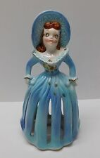 Woman Figurine Candle Holder Fancy Napkin Holder Kreiss Co Blue Ceramic Vintage