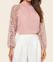 Lace Bishop Sleeve Long Sleeve Stand Collar Tie Back Elegant Blouse Top Casual