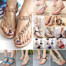 Summer Women Bohemia Sandal Flat Shoes Lady Beach T-Strap Flip Flops Flats Shoes