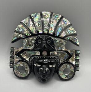 Ausgefallene Schöne Stein Perlmutt Wand Maske Inka Maya Alt Selten Handarbeit
