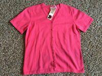 New NWT Cherokee Womens Sweater Cardigan Short Sleeve sz S Small Pink