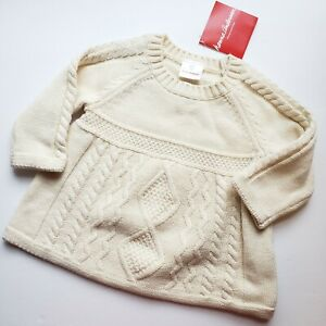 Hanna Andersson Girls Cable Knit Sweater Dress 70 6-12 Months Cream New Baby