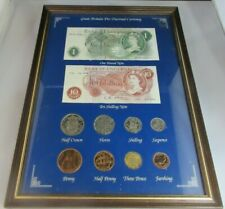 More details for great britain pre-decimal currency framed collection  10 piece currency set