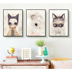 Children Room Cartoon Animal Pictures Painting Modern Printed Canvas Posters