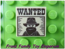 New LEGO Tile Tan 2x2 Wanted Dark Brown Western Bandit Poster Flat Brick Part