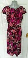 ❤ LONG TALL SALLY Size 16 Purple Pink Black Silky Feel Dress with Belt Pleat VGC