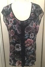 Oasis Women Floral Black Lace Sleeveless Blouse Shirt Top M