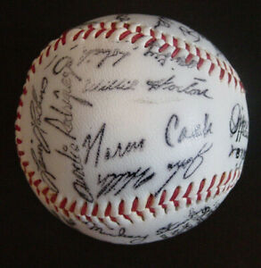 1974 Detroit Tigers Team Autographed Baseball Facsimile Signed Stamped 26 Player