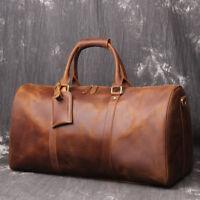 Vintage Leather Travel Bag Men's Large Weekender Overnight Duffel Bag Holdall
