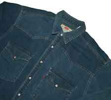 VTG Levis Red Tab Denim Shirt Size Med Pearl Snap Button Long Sleeve Vintage