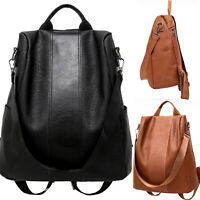 Women's PU Leather Backpack Anti-Theft Rucksack School Shoulder Bag Black/Brown