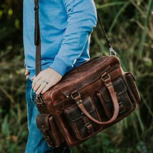 "15"" Buffalo Leather Briefcase Messenger Bag Laptop Satchel Flight Pilot Handbags"