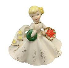 Vintage Lefton December Girl of the Month Figurine - 1853 Series - 1950s
