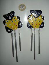 LOT de 2 magnets en bois peint à la main tiges musicales, ours ourson jouet deco