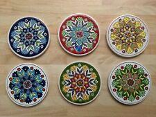 More details for 5 vintage greek drinks coasters ~ rustic pottery ~ ceramic ~ full set
