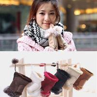 Fashion Women's Real Rabbit Fur Hand Wrist Warmer Fingerless Winter Gloves
