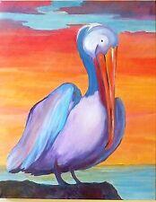 Original Acrylic Sunset Pelly, Pelican at Sunset, signed by RAMfish Artist 24X30
