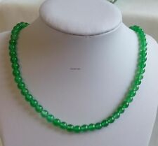 Certified 6mm round bead Green Agate Necklace