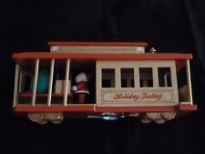 "Holiday Trolley Wood Christmas Music Box - Plays "" Silver Bells"""