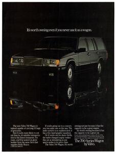 1984 VOLVO 760 Wagon Vintage Original Print AD - Black car photo English Canada