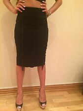 TAMARA MELLON FRINGE SUEDE SKIRT, Size 4, New $895