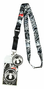 """Marvel Venom Lanyard ID Badge Holder 2"""" Rubber Charm And Collectible Sticker"""