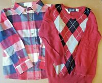 Lot 2 The Children's Place TCP Boys 4T Shirts Holiday Sweater Flannel NWT Argyle