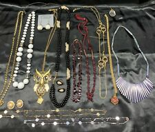 VINTAGE TO NOW NECKLACE & Earrings FASHION JEWELRY LOT Owl, Silver & Gold Color