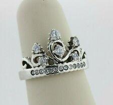 Sterling Silver Princess Tiara Crown CZ Band Ring - Size 7