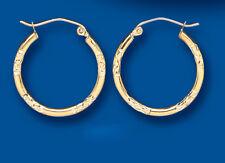 Gold Hoop Earrings Yellow Gold Creole Diamond Cut 19mm Hallmarked