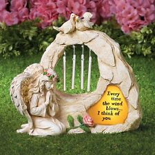 """Solar Lighted """"Loved Ones Gone"""" Memorial Angel w/ Wind Chime Garden Statue"""