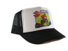 Vintage Suzuki motocross motorcycle Trucker Hat mesh hat snapback black