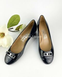 Salvatore Ferragamo low block heel patent leather shoes size 5.5 US