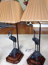 Theodore Alexander Verdi Brass Crane and Turtle Rosewood Veneer Base Lamps
